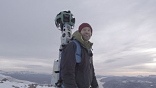 Nikolaj Coster-Waldau carried Google's 360-degree Trekker Street View camera across areas of Greenland. Photo Richard Schuster/Google Maps