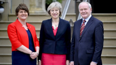Prime Minister Theresa May (centre) with Northern Irish First Minister and DUP Leader Arlene Foster (left) and deputy First Minister Martin McGuinness (right), in 2016. Photo: Tom Evans/flickr