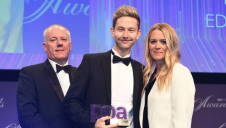 (L-R): Mike Wallis from PPA Publishing Innovator of the Year award sponsor Spatial Global; edie's content director Luke Nicholls; and PPA Awards 2018 host Edith Bowman