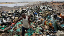 The Agbogbloshie slums of Ghana (pictured) have been used as an e-waste landfill by illegal exporters