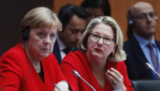 <p>German Chancellor Angela Merkel and Environment Minister Svenja Schulzeat the Petersberg Climate Dialogue in Berlin. Image: EPA-EFE/Michele Tantussi / POOL [Michele Tantussi/ epa]</p>