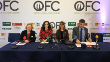 Pictured (L-R):  Journalist Charlotte Smith, Environment Secretary Theresa Villiers, NFU president Minette Batters and Friends of the Earth CEO Craig Bennett. Image: Oxford Farming Conference