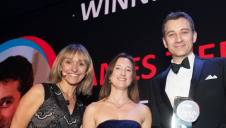 (L-R): Awards compere Michaela Strachan, the Energy Institute's head of events and training Laura Viscione (presenting) and James Tiernan