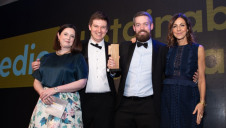 Ainslie Macleod, associate director, Carbon Trust (far left) and compere Julia Bradbury present Whitbread's team with the award.