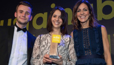 edie's content editor Matt Mace and compere Julia Bradbury (right) present Toast Ale's COO Louisa Ziane with her award