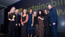 Pictured: Compere Julia Bradbury (centre) presents the Ikea team with the award