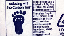 A carbon footprint label, as found on a variety of food items