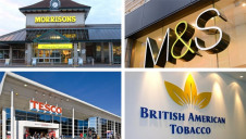 The top-ranked companies are M&S, Tesco, British American Tobacco and Morrison's