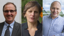 (L-R): Defra's chief scientific advisor Ian Boyd, the University of East Anglia's professor of environmental sciences Corinne Le Quere and the Met Office Hadley Centre for Climate Prediction and Research's head of climate impacts professor Richard Betts