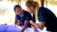 Dr Megan Morikawa (left) at Iberostar's first coral nursery. A second nursery is due to open this year.