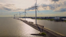 An artist's impression of how the wind farm and hydrogen facility (right) could look in 2030. Image: Shell Nederland