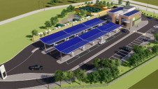 An artist's impression of the facility, showing its rooftop solar array and battery storage modules. Image: Gridserve