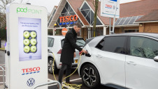 The new points installed at Tesco sites include 7kW media chargers capable of displaying advertising and a free to use