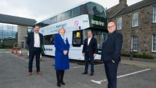 Left to right: Council co-leaders Douglas Lumsden and Jenny Laing; Wrightbus' executive chair Jo Bamford and First Aberdeen's operations director David Phillips