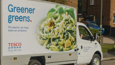 Pictured: One of Tesco's fully-electric home delivery vans