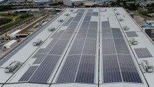 Pictured: The rooftop solar array at Amazon's Tilbury fulfillment centre