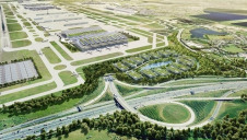 Pictured: An artist's impression of the expanded airport from above
