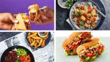 Images (clockwise from top-left): Taco Bell UK, M&S, Subway, Wagamama