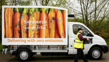 Pictured: One of Sainsbury's' zero-emission electric 'Evie' vans