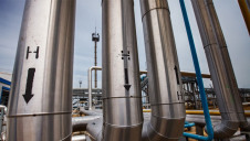 Hydrogen pipes are seen at an oil refinery and gas processing plant in the Uralsk region, Kazakhstan