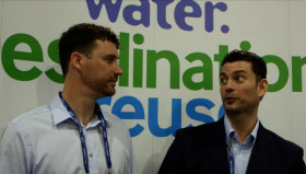 Matt Jones of Desalitech (left), and AWC's Mo Malki, discuss the challenges of modelling a closed circuit reverse osmosis system