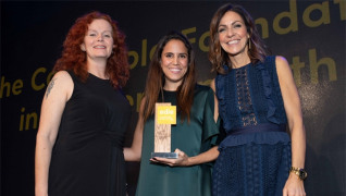 Eshcon director Anya Ledwith (left) and compere Julia Bradbury (right) present the award