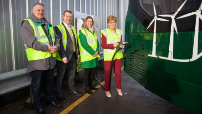 First Minister Nicola Sturgeon at the unveiling of the buses